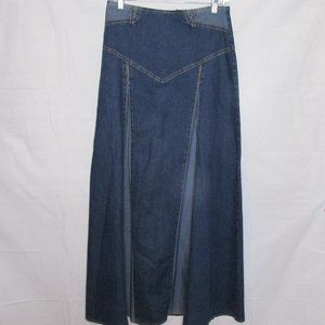 Vintage Hippie Boho  Long Denim Pleated Skirt
